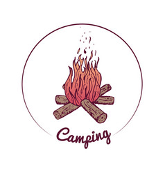 colorful campfire with wood sketch vector image