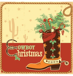 Cowboy christmas card with text and boot vector