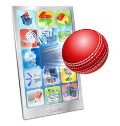 Cricket ball flying out cell phone vector