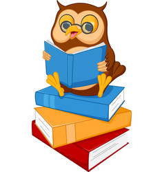 Cute cartoon wise owl read a book vector
