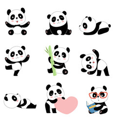 cute panda characters chinese bear newborn happy vector image