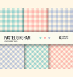 digital paper pack 6 abstract patterns gingham vector image