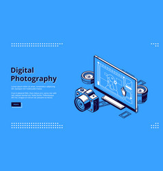 digital photography isometric landing page banner vector image