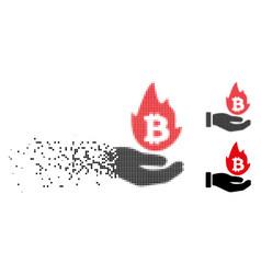 Disintegrating pixel halftone hot cryptocurrency vector
