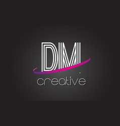 dm d m letter logo with lines design and purple vector image