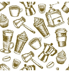 doodle coffee seamless pattern vector image