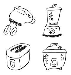 doodle kitchen appliances vector image