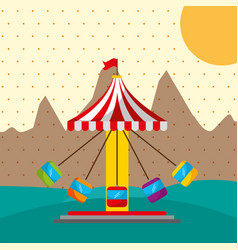 ferris wheel tent city carnival fun fair festival vector image