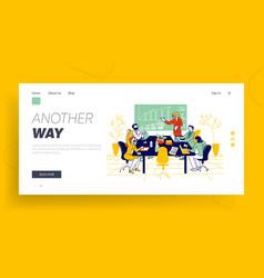 Financial school courses or board meeting website vector