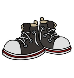 Funny black sneakers vector