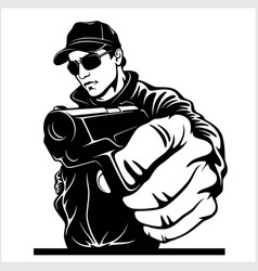 Gangster with gun ghetto warriors vector
