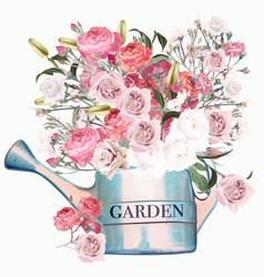 garden blue watering can with pink and white roses vector image