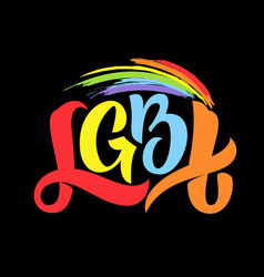 gay lettering conceptual poster with lgbt rainbow vector image