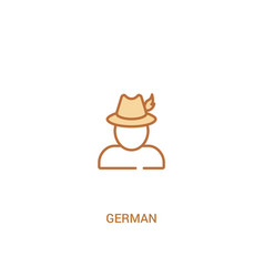 German concept 2 colored icon simple line element vector