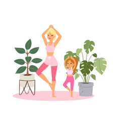girl practices yoga at home vector image