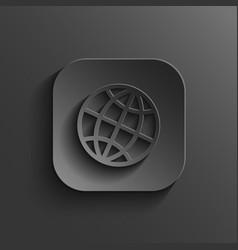 Globe icon - black app button vector