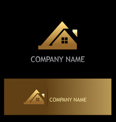 Gold house roof company logo vector