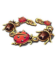 Golden bracelet in the form of beetles vector