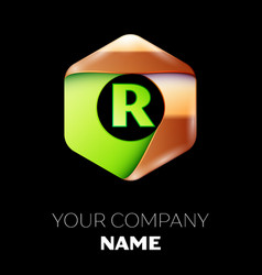 green letter r logo in the golden-green hexagonal vector image