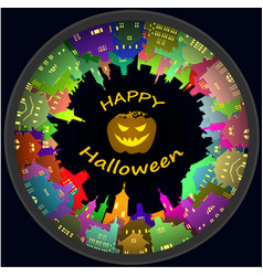 halloween round town and lantern background vector image