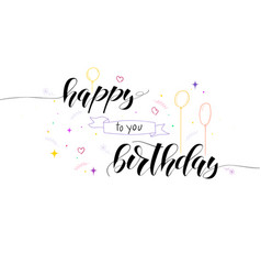 happy birthday card with color hand-drawn doodle vector image