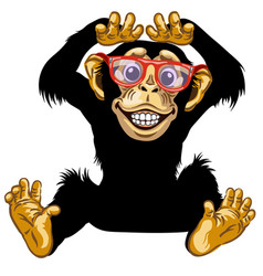 Happy cartoon chimp with glasses vector