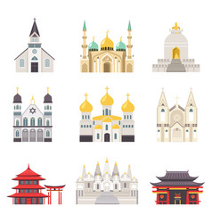 Holy religious buildings from all over world set vector