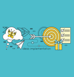 Ideas implementation background in flat vector