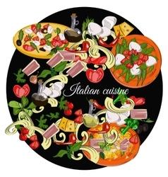 Italian cuisine top view frame Food menu design vector image