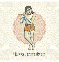 Krishna playing the flute for vector image