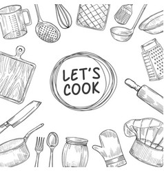 Lets cook cooking chef class sketch background vector