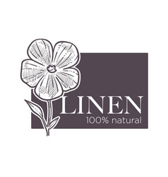 Linen natural 100 hundred percent of guarantee vector