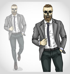 Man with skull and beard moustaches vector