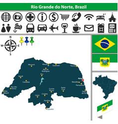 map of rio grande do norte brazil vector image vector image