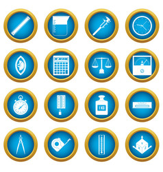 measure precision icons blue circle set vector image