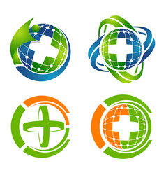 medical cross logo set concept design symbol vector image