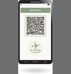 mobile phone with boarding pass airline ticket vector image