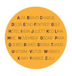 Nato phonetic alphabet - text in circle vector