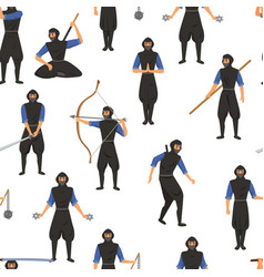 Ninja assassin movement and fighting skills with vector