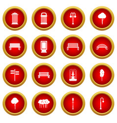 Park icon red circle set vector