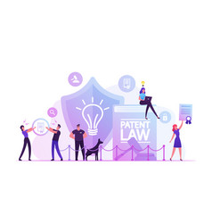 Patent law concept people protecting their rights vector