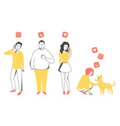 people look in phones vector image