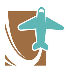 plane that flies up and leaves trace promo emblem vector image