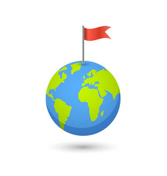 Planet and map pins icon earth and colorful flag vector