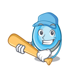 Playing baseball oxygen mask character cartoon vector