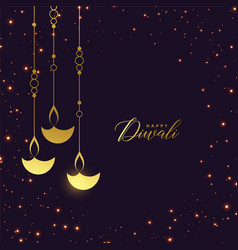 Premium golden hanging diya with sparkles vector
