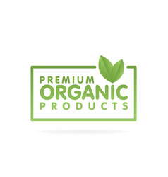 premium organic products banner text and frame vector image