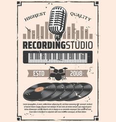 recording studio microphone vinyl discs vector image