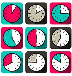 Retro Flat Design Clock Set vector image