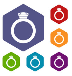 ring icons set hexagon vector image